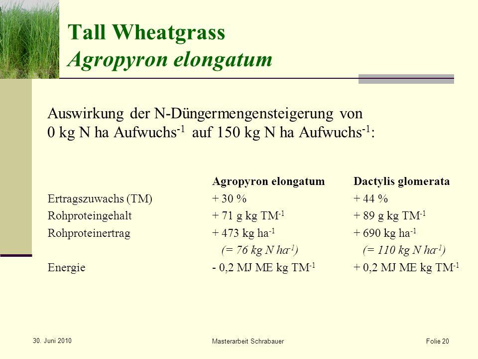 Auswirkung der N-Düngermengensteigerung von 0 kg N ha Aufwuchs -1 auf 150 kg N ha Aufwuchs -1 : Agropyron elongatumDactylis glomerata Ertragszuwachs (TM)+ 30 %+ 44 % Rohproteingehalt+ 71 g kg TM -1 + 89 g kg TM -1 Rohproteinertrag+ 473 kg ha -1 + 690 kg ha -1 (= 76 kg N ha -1 ) (= 110 kg N ha -1 ) Energie- 0,2 MJ ME kg TM -1 + 0,2 MJ ME kg TM -1 Folie 20 Masterarbeit Schrabauer 30.