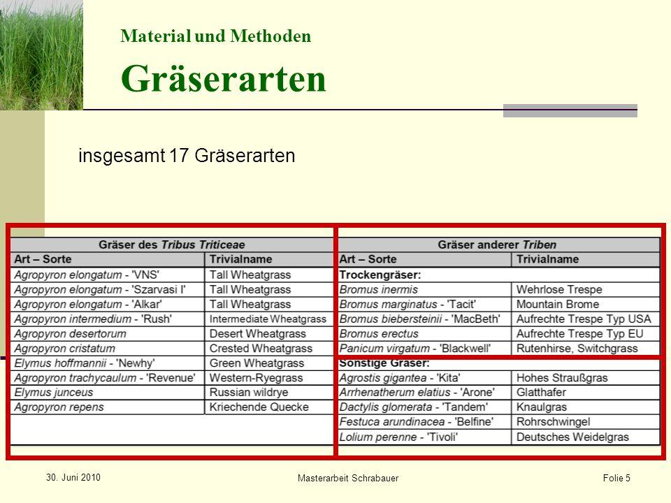 Material und Methoden Gräserarten insgesamt 17 Gräserarten Folie 5 Masterarbeit Schrabauer 30.