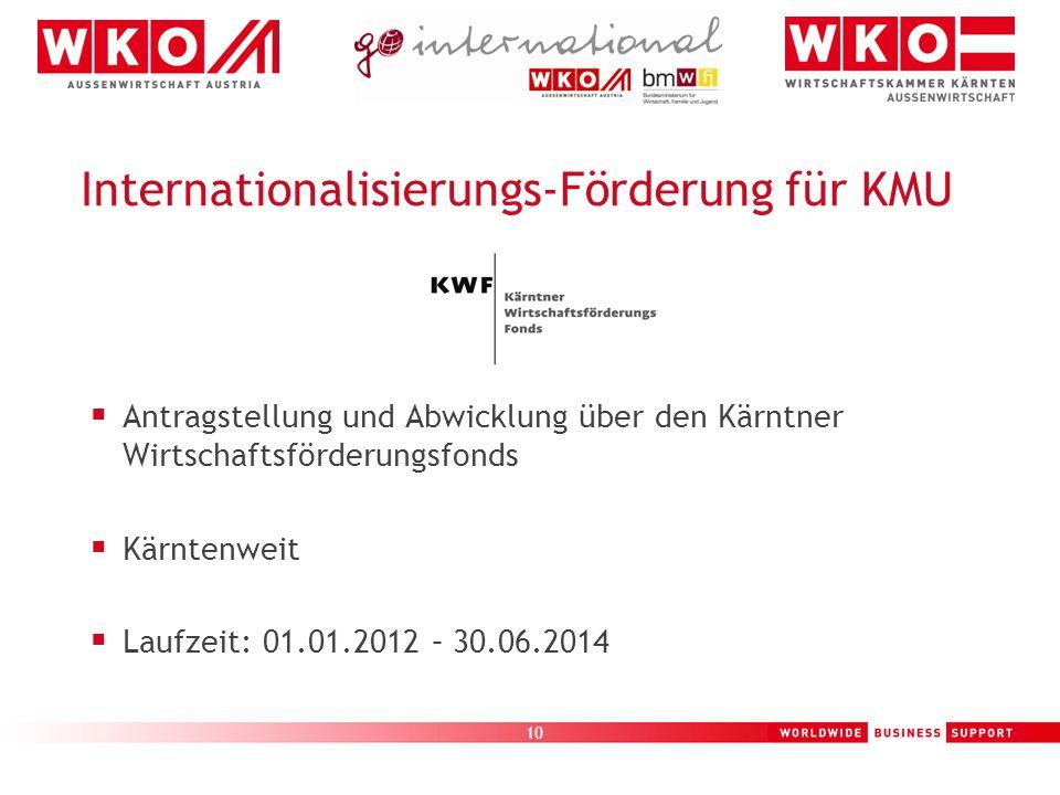 10 Internationalisierungs-Förderung für KMU Antragstellung und Abwicklung über den Kärntner Wirtschaftsförderungsfonds Kärntenweit Laufzeit: 01.01.201