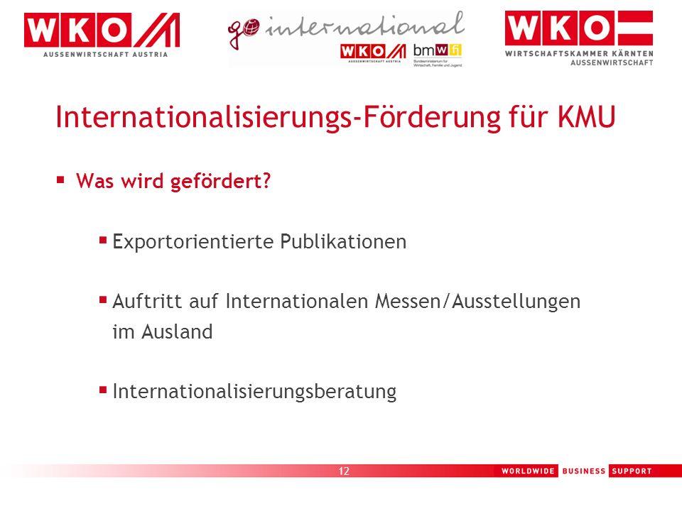 12 Internationalisierungs-Förderung für KMU Was wird gefördert? Exportorientierte Publikationen Auftritt auf Internationalen Messen/Ausstellungen im A