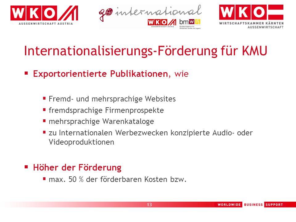 13 Internationalisierungs-Förderung für KMU Exportorientierte Publikationen, wie Fremd- und mehrsprachige Websites fremdsprachige Firmenprospekte mehr