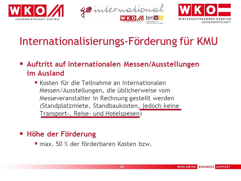 14 Auftritt auf Internationalen Messen/Ausstellungen im Ausland Kosten für die Teilnahme an Internationalen Messen/Ausstellungen, die üblicherweise vo