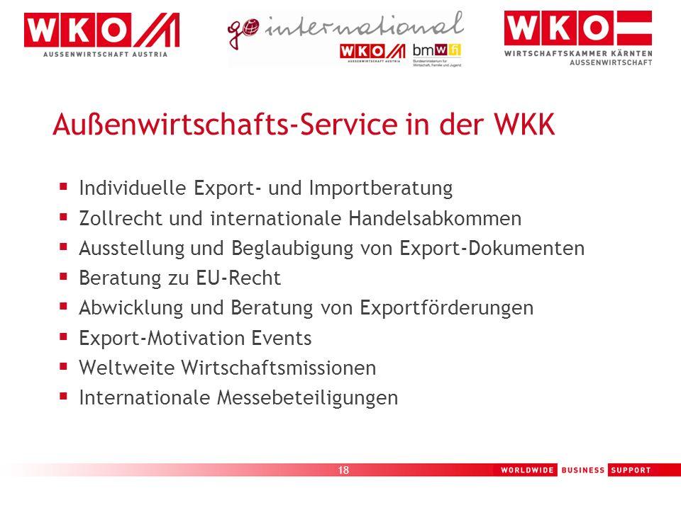 18 Außenwirtschafts-Service in der WKK Individuelle Export- und Importberatung Zollrecht und internationale Handelsabkommen Ausstellung und Beglaubigu