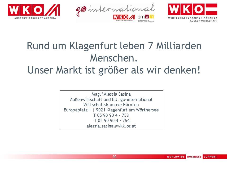 20 Rund um Klagenfurt leben 7 Milliarden Menschen. Unser Markt ist größer als wir denken! Mag.ª Alessia Sasina Außenwirtschaft und EU, go-internationa