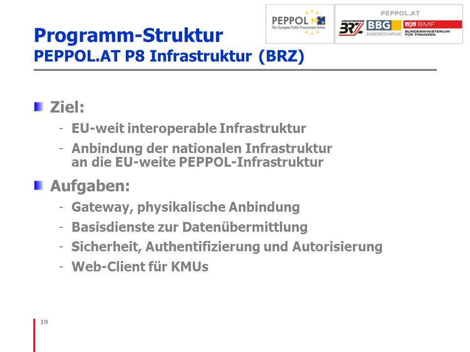 Programm-Struktur PEPPOL.AT P8 Infrastruktur (BRZ) Ziel: -EU-weit interoperable Infrastruktur -Anbindung der nationalen Infrastruktur an die EU-weite