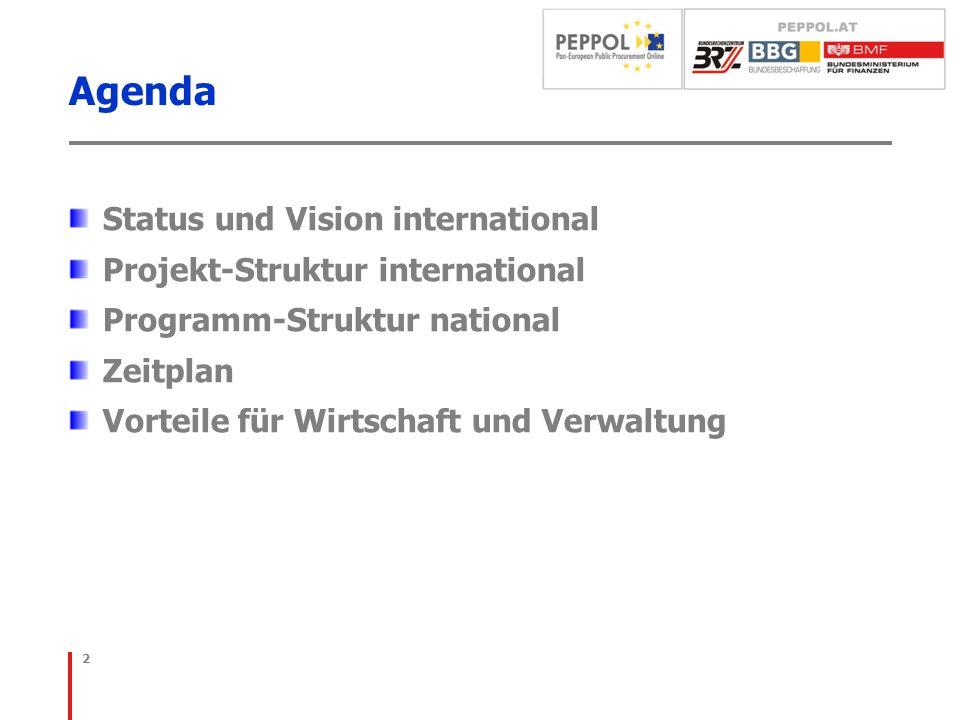 Agenda Status und Vision international Projekt-Struktur international Programm-Struktur national Zeitplan Vorteile für Wirtschaft und Verwaltung 2