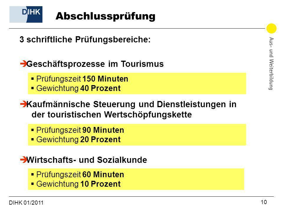 DIHK 01/2011 10 Geschäftsprozesse im Tourismus Prüfungszeit 150 Minuten Gewichtung 40 Prozent Kaufmännische Steuerung und Dienstleistungen in der tour