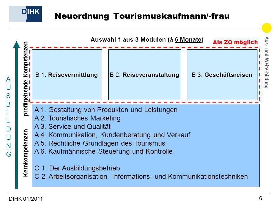 DIHK 01/2011 6 profilgebende Kompetenzen Kernkompetenzen AUSBILDUNGAUSBILDUNG B 1. Reisevermittlung A 1. Gestaltung von Produkten und Leistungen A 2.