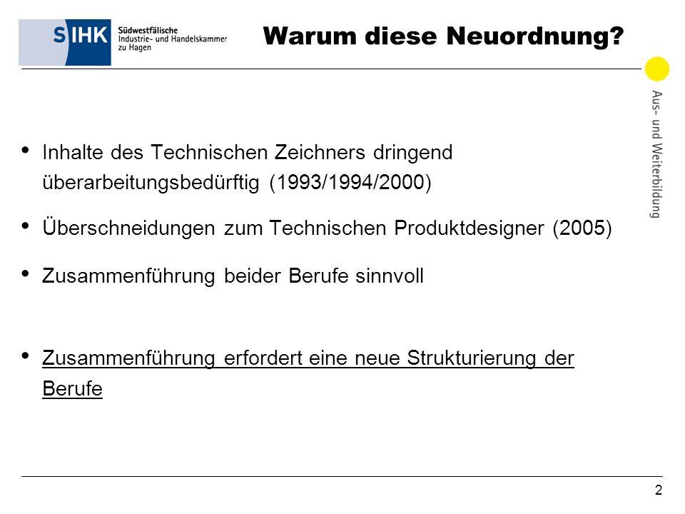 2 Warum diese Neuordnung? Inhalte des Technischen Zeichners dringend überarbeitungsbedürftig (1993/1994/2000) Überschneidungen zum Technischen Produkt
