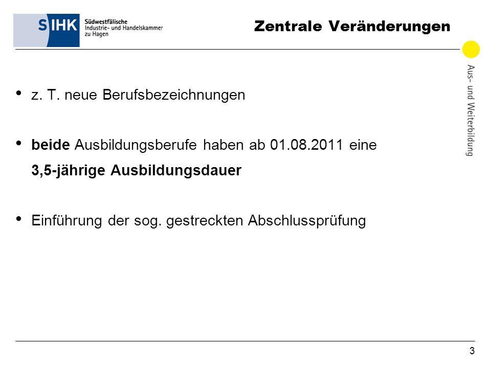 3 Zentrale Veränderungen z. T. neue Berufsbezeichnungen beide Ausbildungsberufe haben ab 01.08.2011 eine 3,5-jährige Ausbildungsdauer Einführung der s
