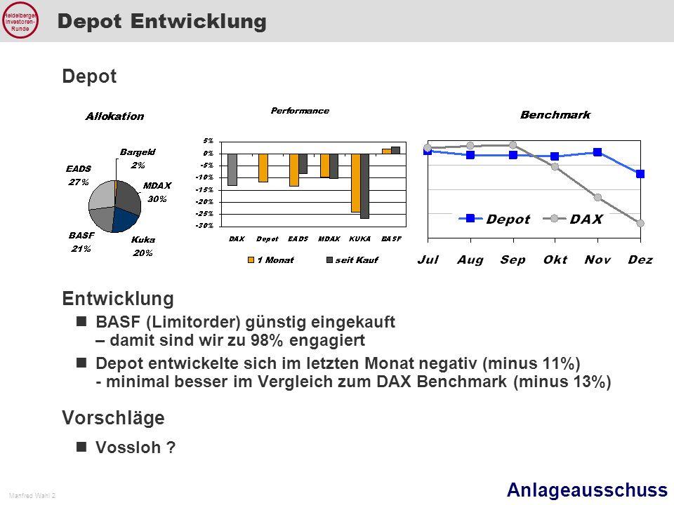Anlageausschuss Manfred Wahl 2 Heidelberger Investoren- Runde Depot Entwicklung Depot Entwicklung BASF (Limitorder) günstig eingekauft – damit sind wir zu 98% engagiert Depot entwickelte sich im letzten Monat negativ (minus 11%) - minimal besser im Vergleich zum DAX Benchmark (minus 13%) Vorschläge Vossloh