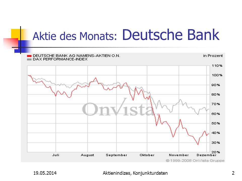 Aktienindizes, Konjunkturdaten Aktie des Monats: Deutsche Bank 19.05.20142