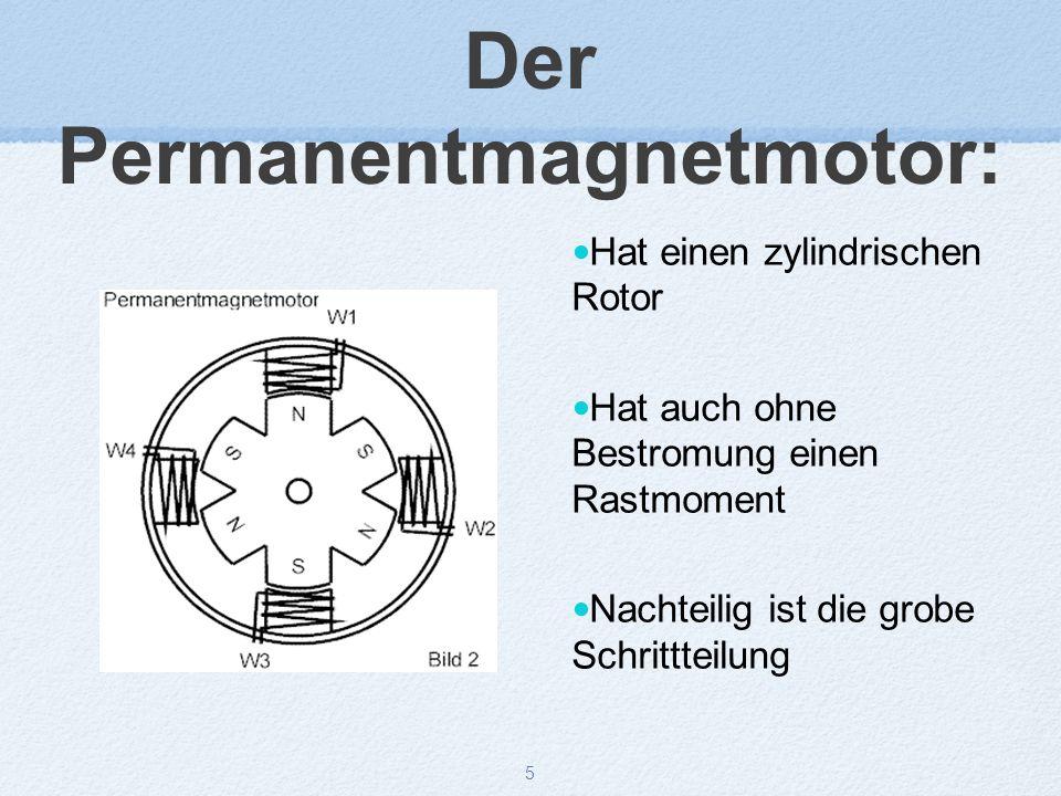 5 Der Permanentmagnetmotor: Hat einen zylindrischen Rotor Hat auch ohne Bestromung einen Rastmoment Nachteilig ist die grobe Schrittteilung