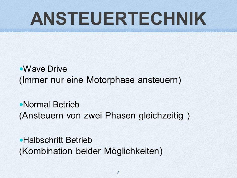 8 ANSTEUERTECHNIK Wave Drive ( Immer nur eine Motorphase ansteuern) Normal Betrieb ( Ansteuern von zwei Phasen gleichzeitig ) Halbschritt Betrieb ( Kombination beider Möglichkeiten)