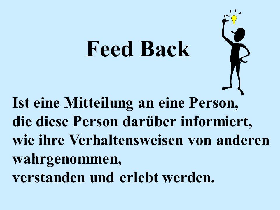 Feed Back Ist eine Mitteilung an eine Person, die diese Person darüber informiert, wie ihre Verhaltensweisen von anderen wahrgenommen, verstanden und