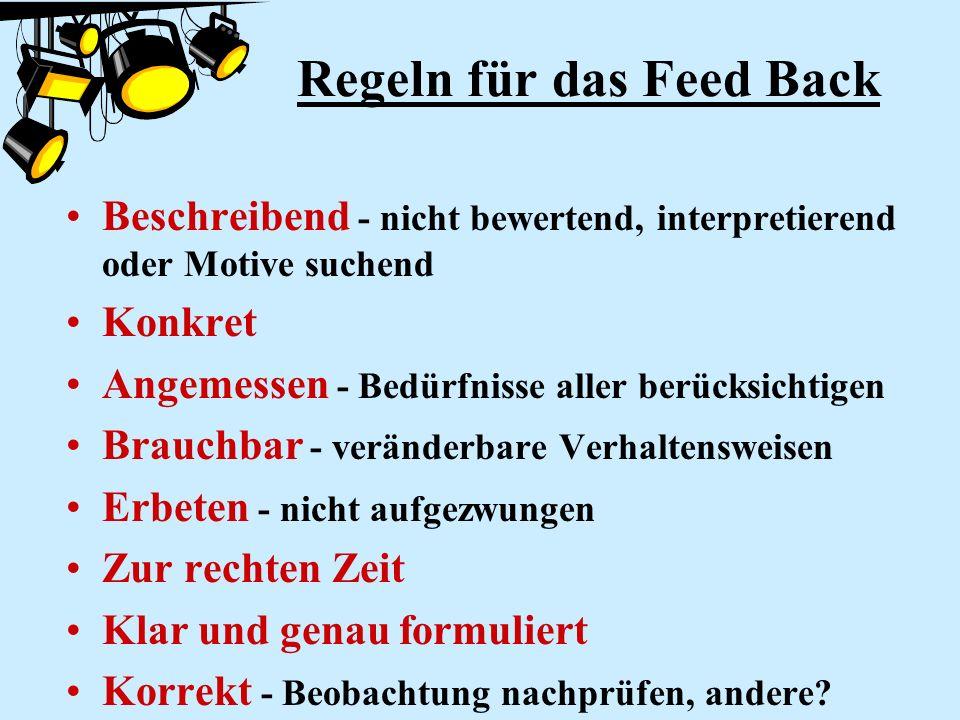 Regeln für das Feed Back Beschreibend - nicht bewertend, interpretierend oder Motive suchend Konkret Angemessen - Bedürfnisse aller berücksichtigen Br