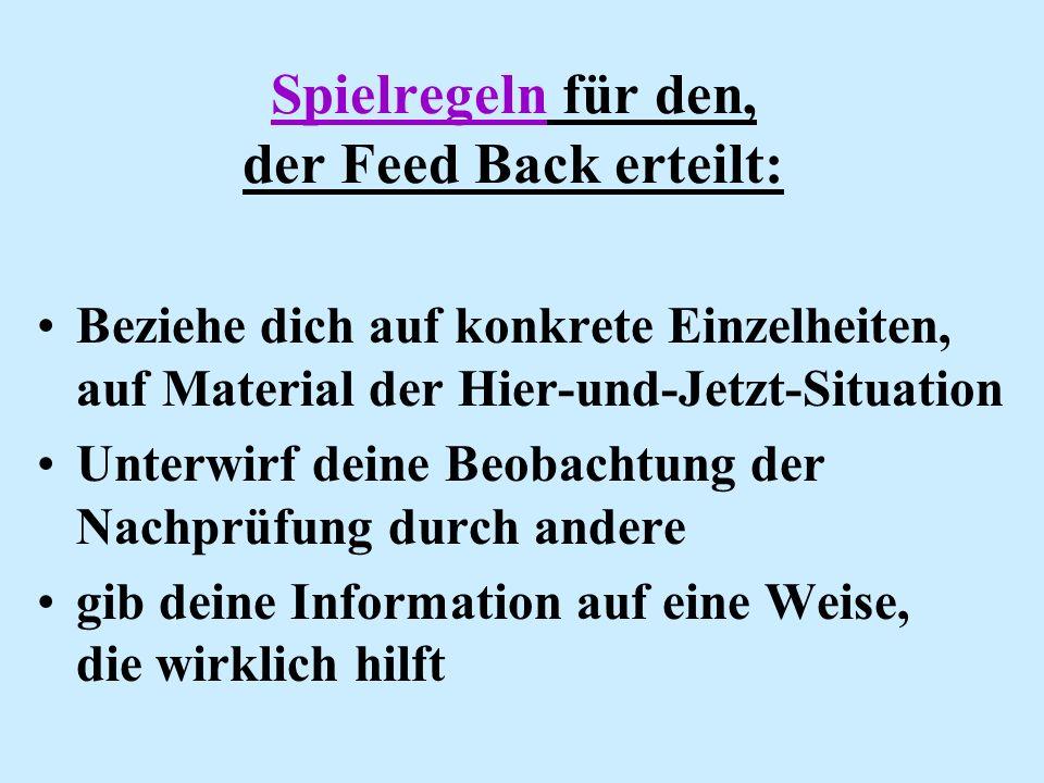 Spielregeln für den, der Feed Back erteilt: Beziehe dich auf konkrete Einzelheiten, auf Material der Hier-und-Jetzt-Situation Unterwirf deine Beobacht