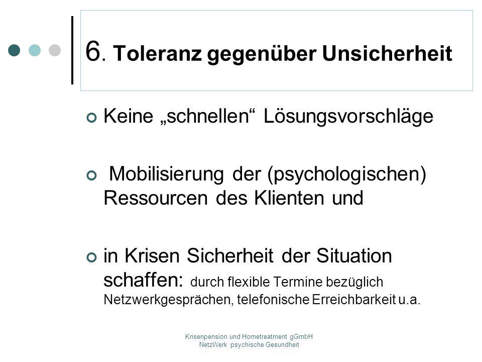 Krisenpension und Hometreatment gGmbH NetzWerk psychische Gesundheit 6. Toleranz gegenüber Unsicherheit Keine schnellen Lösungsvorschläge Mobilisierun