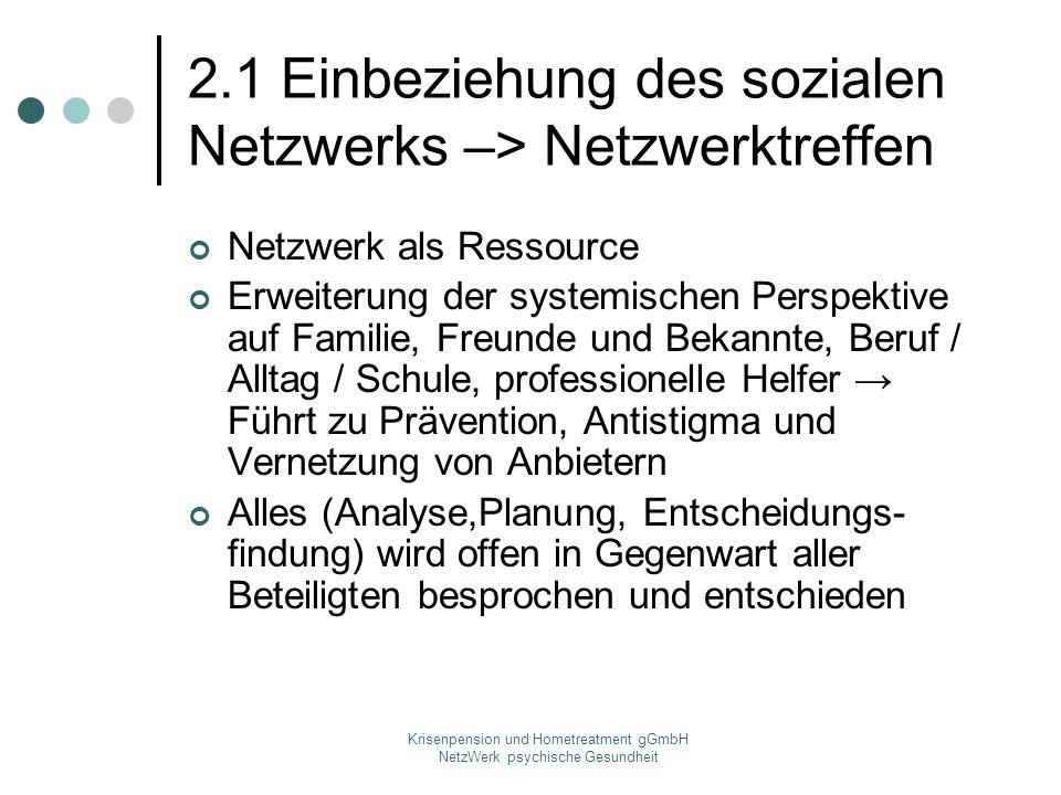 Krisenpension und Hometreatment gGmbH NetzWerk psychische Gesundheit 2.1 Einbeziehung des sozialen Netzwerks –> Netzwerktreffen Netzwerk als Ressource