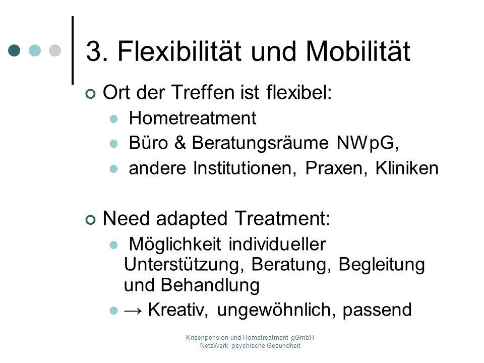 Krisenpension und Hometreatment gGmbH NetzWerk psychische Gesundheit 3. Flexibilität und Mobilität Ort der Treffen ist flexibel: Hometreatment Büro &