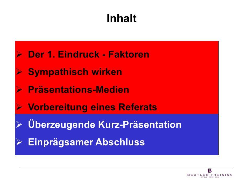 Inhalt Der 1. Eindruck - Faktoren Sympathisch wirken Präsentations-Medien Vorbereitung eines Referats Überzeugende Kurz-Präsentation Einprägsamer Absc