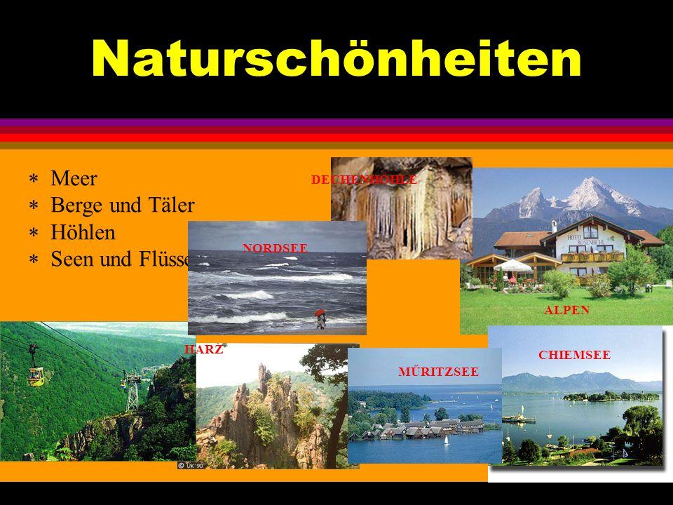 Naturschönheiten Meer Berge und Täler Höhlen Seen und Flüsse HARZ MŰRITZSEE ALPEN NORDSEE DECHENHŐHLE CHIEMSEE