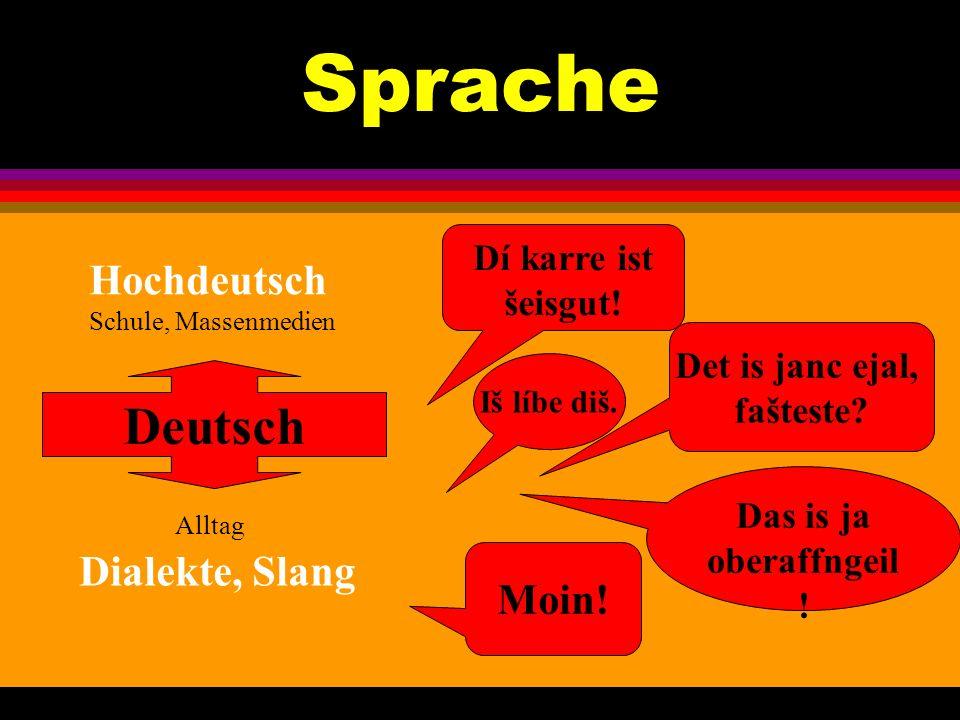 Sprache Iš líbe diš. Det is janc ejal, fašteste? Moin! Deutsch Hochdeutsch Schule, Massenmedien Alltag Dialekte, Slang Das is ja oberaffngeil ! Dí kar