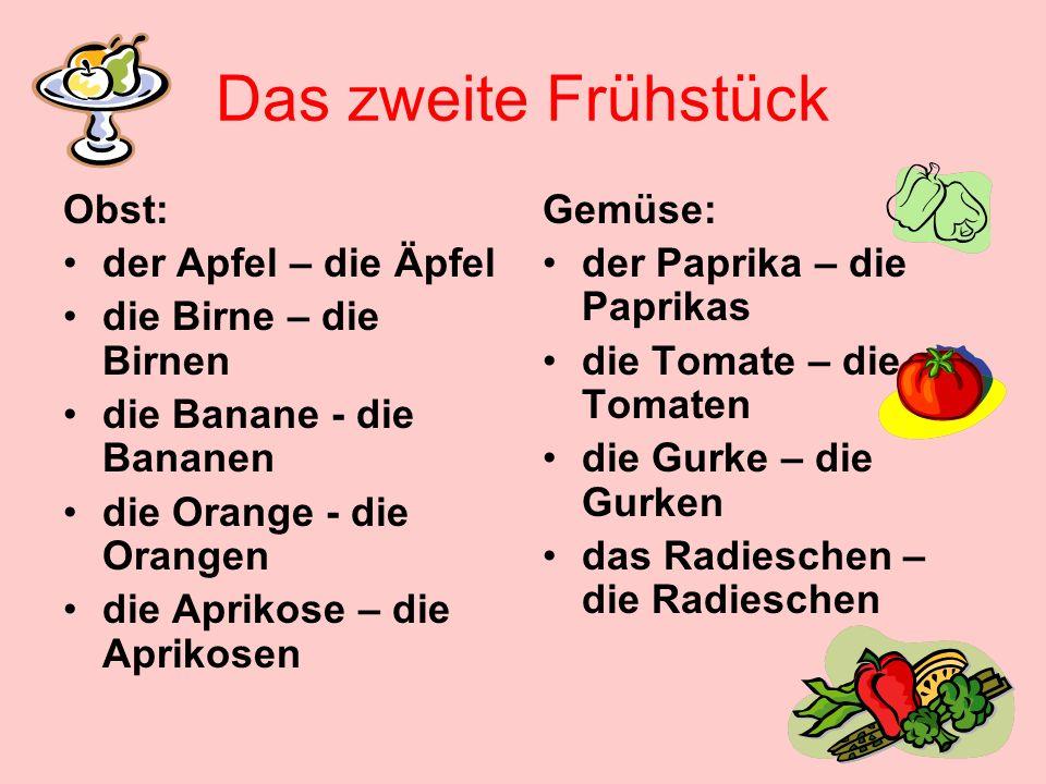 Das zweite Frühstück Obst: der Apfel – die Äpfel die Birne – die Birnen die Banane - die Bananen die Orange - die Orangen die Aprikose – die Aprikosen