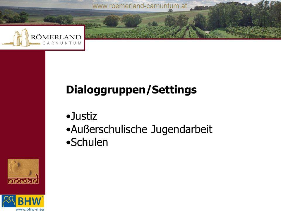 www.roemerland-carnuntum.at Dialoggruppen/Settings Justiz Außerschulische Jugendarbeit Schulen