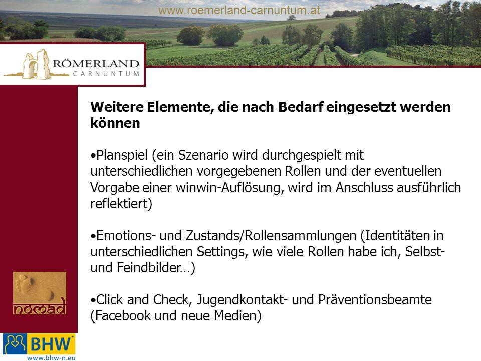 www.roemerland-carnuntum.at Weitere Elemente, die nach Bedarf eingesetzt werden können Planspiel (ein Szenario wird durchgespielt mit unterschiedliche
