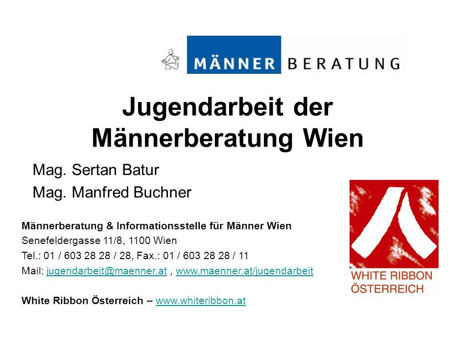 Jugendarbeit der Männerberatung Wien Mag. Sertan Batur Mag. Manfred Buchner Männerberatung & Informationsstelle für Männer Wien Senefeldergasse 11/8,