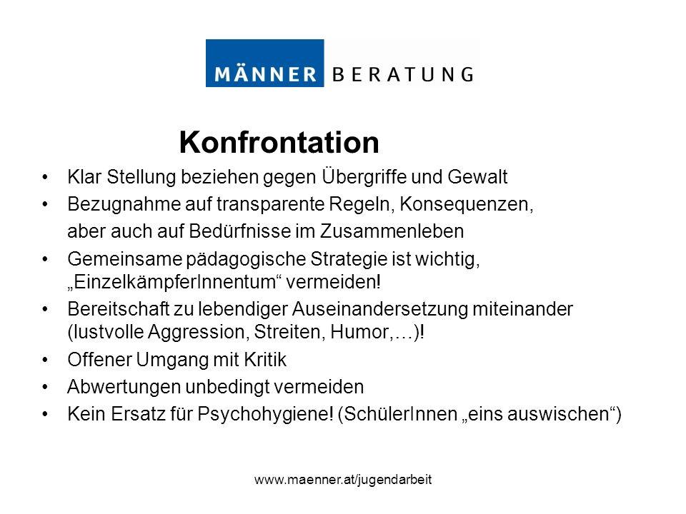 www.maenner.at/jugendarbeit Konfrontation Klar Stellung beziehen gegen Übergriffe und Gewalt Bezugnahme auf transparente Regeln, Konsequenzen, aber au