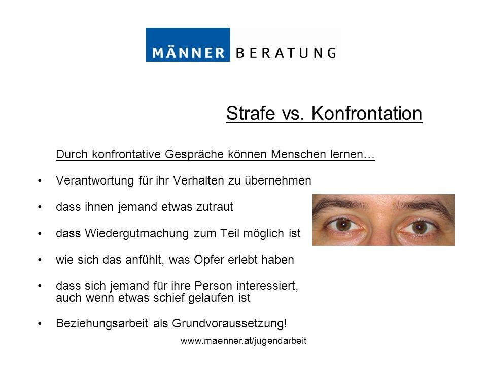 www.maenner.at/jugendarbeit Durch konfrontative Gespräche können Menschen lernen… Verantwortung für ihr Verhalten zu übernehmen dass ihnen jemand etwa