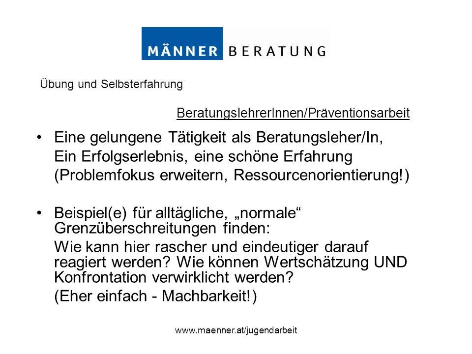 www.maenner.at/jugendarbeit Eine gelungene Tätigkeit als Beratungsleher/In, Ein Erfolgserlebnis, eine schöne Erfahrung (Problemfokus erweitern, Ressou