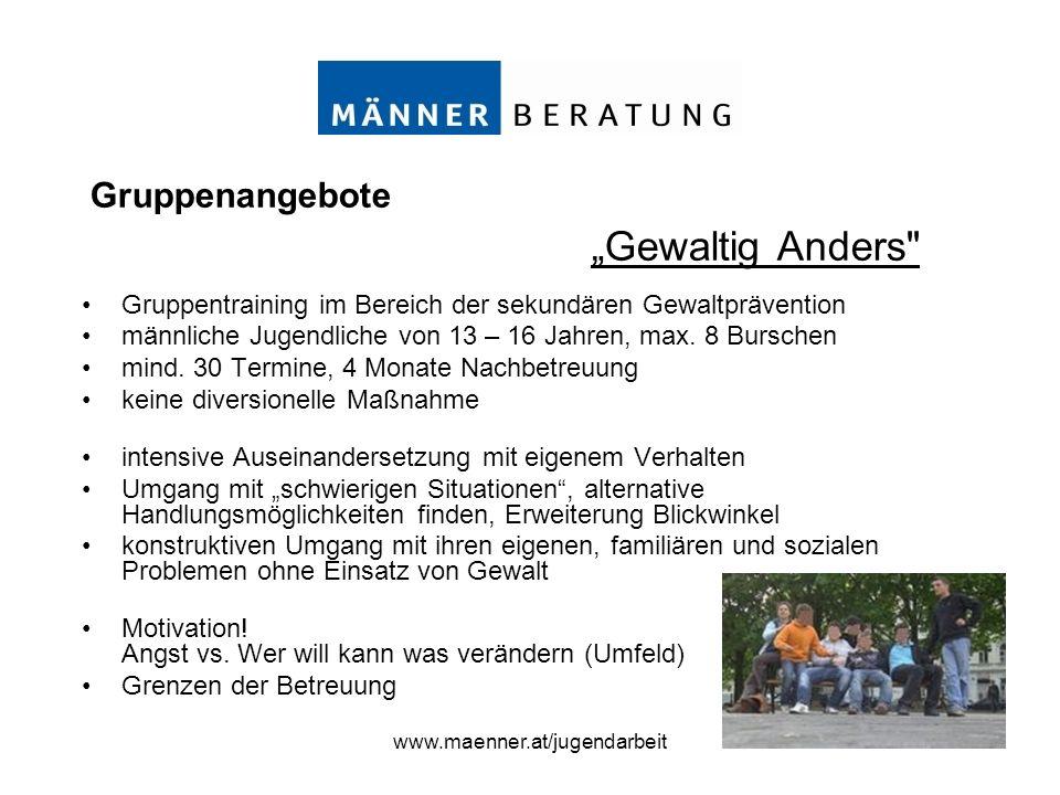 www.maenner.at/jugendarbeit Gruppentraining im Bereich der sekundären Gewaltprävention männliche Jugendliche von 13 – 16 Jahren, max. 8 Burschen mind.