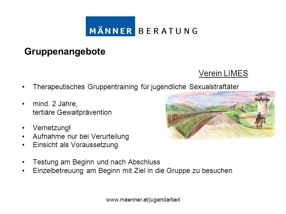 www.maenner.at/jugendarbeit Therapeutisches Gruppentraining für jugendliche Sexualstraftäter mind. 2 Jahre, tertiäre Gewaltprävention Vernetzung! Aufn