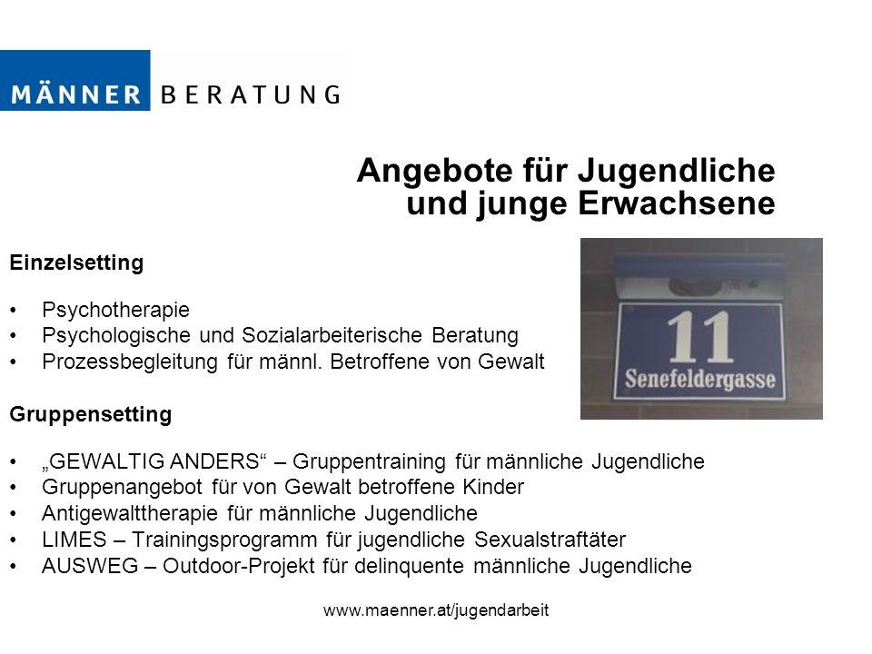 www.maenner.at/jugendarbeit Angebote für Jugendliche und junge Erwachsene Einzelsetting Psychotherapie Psychologische und Sozialarbeiterische Beratung