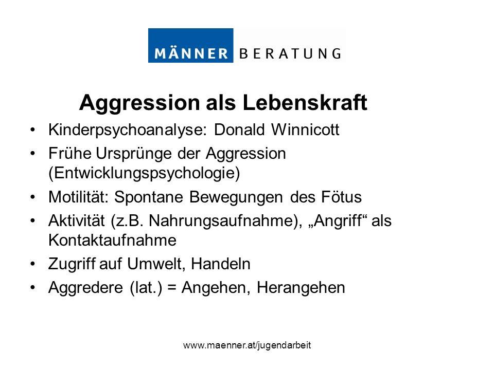 www.maenner.at/jugendarbeit Aggression als Lebenskraft Kinderpsychoanalyse: Donald Winnicott Frühe Ursprünge der Aggression (Entwicklungspsychologie)