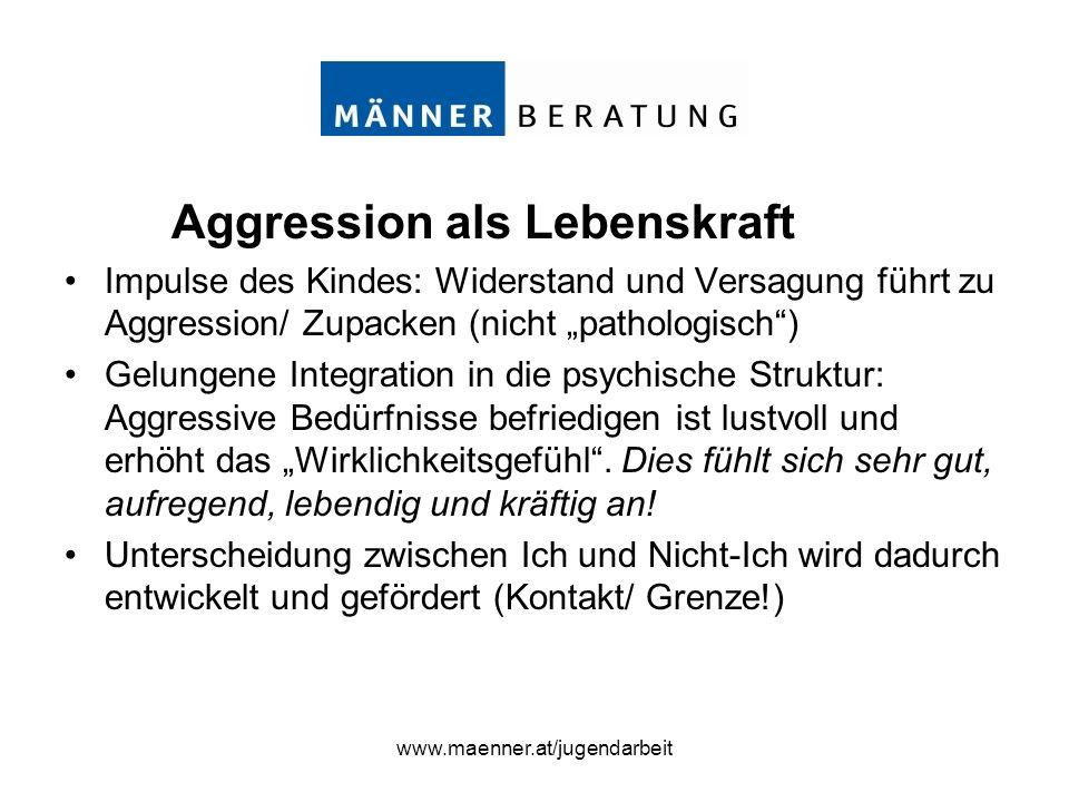www.maenner.at/jugendarbeit Aggression als Lebenskraft Impulse des Kindes: Widerstand und Versagung führt zu Aggression/ Zupacken (nicht pathologisch)