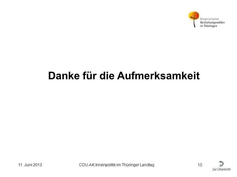 zur Übersicht 11. Juni 2013CDU-AK Innenpolitik im Thüringer Landtag15 Danke für die Aufmerksamkeit