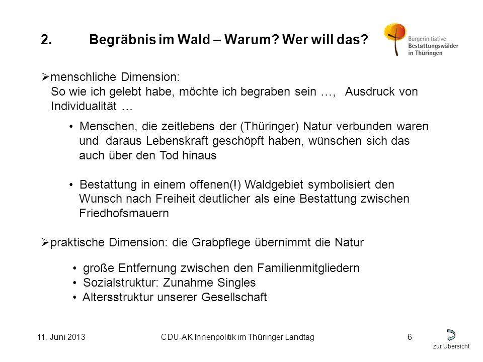 zur Übersicht 11. Juni 2013CDU-AK Innenpolitik im Thüringer Landtag6 2.Begräbnis im Wald – Warum.