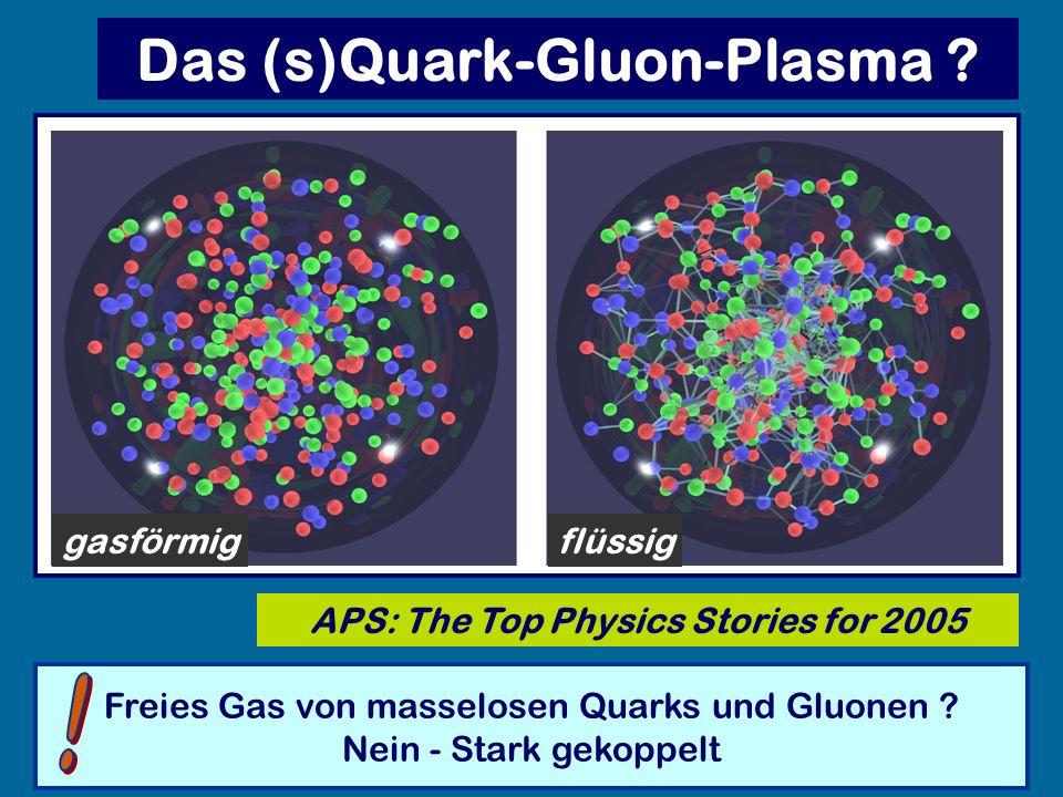 Das (s)Quark-Gluon-Plasma ? APS: The Top Physics Stories for 2005 Freies Gas von masselosen Quarks und Gluonen ? Nein - Stark gekoppelt flüssiggasförm