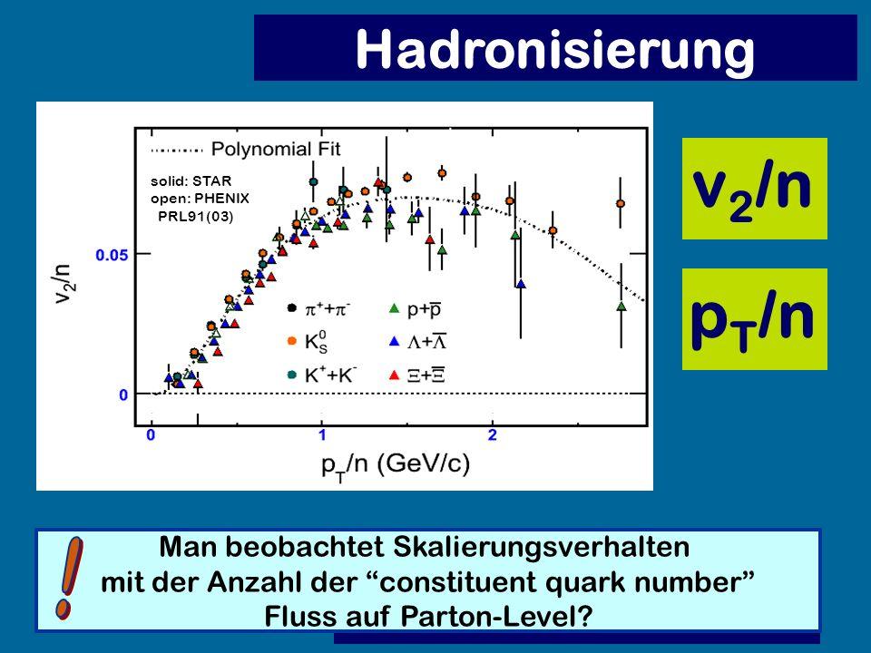Hadronisierung Man beobachtet Skalierungsverhalten mit der Anzahl der constituent quark number Fluss auf Parton-Level? solid: STAR open: PHENIX PRL91(