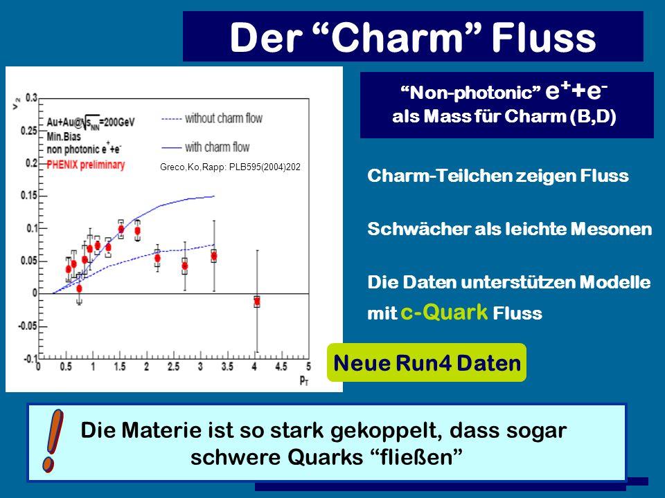 Der Charm Fluss Charm-Teilchen zeigen Fluss Schwächer als leichte Mesonen Die Daten unterstützen Modelle mit c-Quark Fluss Greco,Ko,Rapp: PLB595(2004)