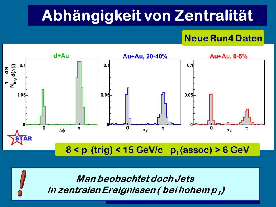 Abhängigkeit von Zentralität Neue Run4 Daten Man beobachtet doch Jets in zentralen Ereignissen ( bei hohem p T ) 8 6 GeV