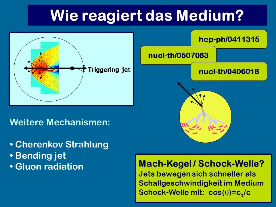 Mach-Kegel / Schock-Welle? Jets bewegen sich schneller als Schallgeschwindigkeit im Medium Schock-Welle mit: cos( )=c s /c Triggering jet Weitere Mech