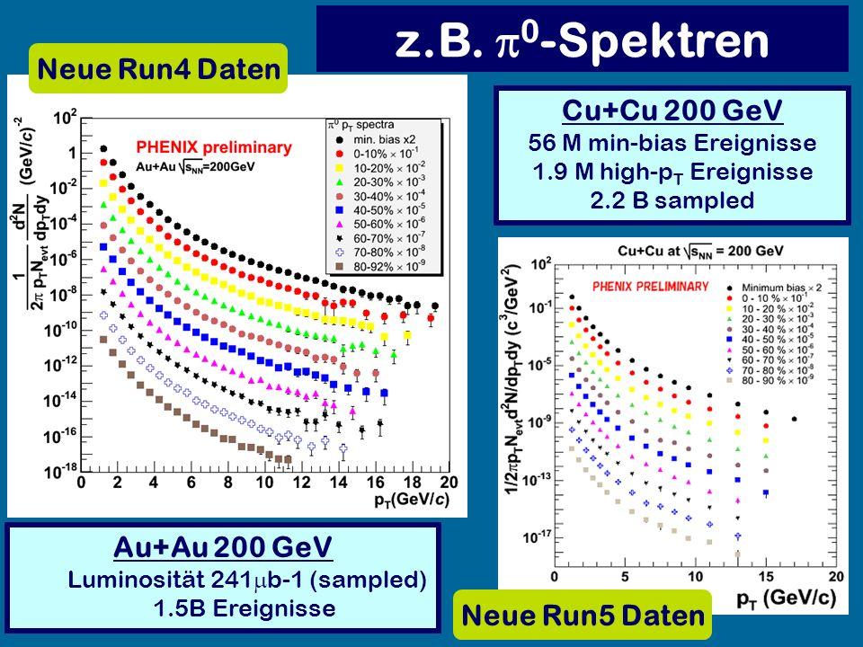 Neue Run4 Daten Cu+Cu 200 GeV 56 M min-bias Ereignisse 1.9 M high-p T Ereignisse 2.2 B sampled Au+Au 200 GeV Luminosität 241 b-1 (sampled) 1.5B Ereign
