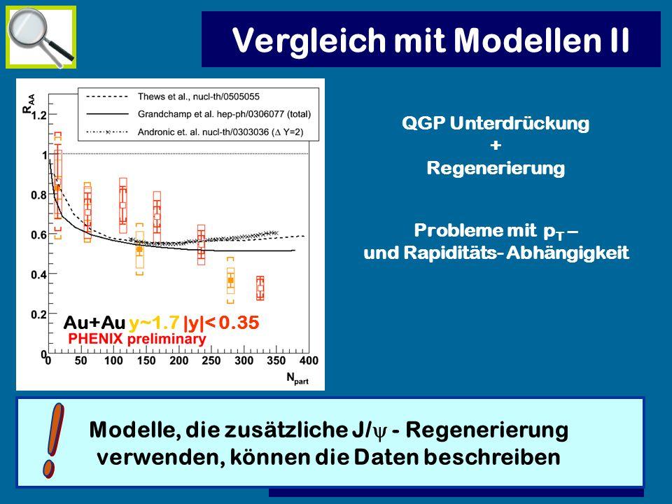 QGP Unterdrückung + Regenerierung Probleme mit p T – und Rapiditäts- Abhängigkeit Vergleich mit Modellen II Modelle, die zusätzliche J/ - Regenerierun