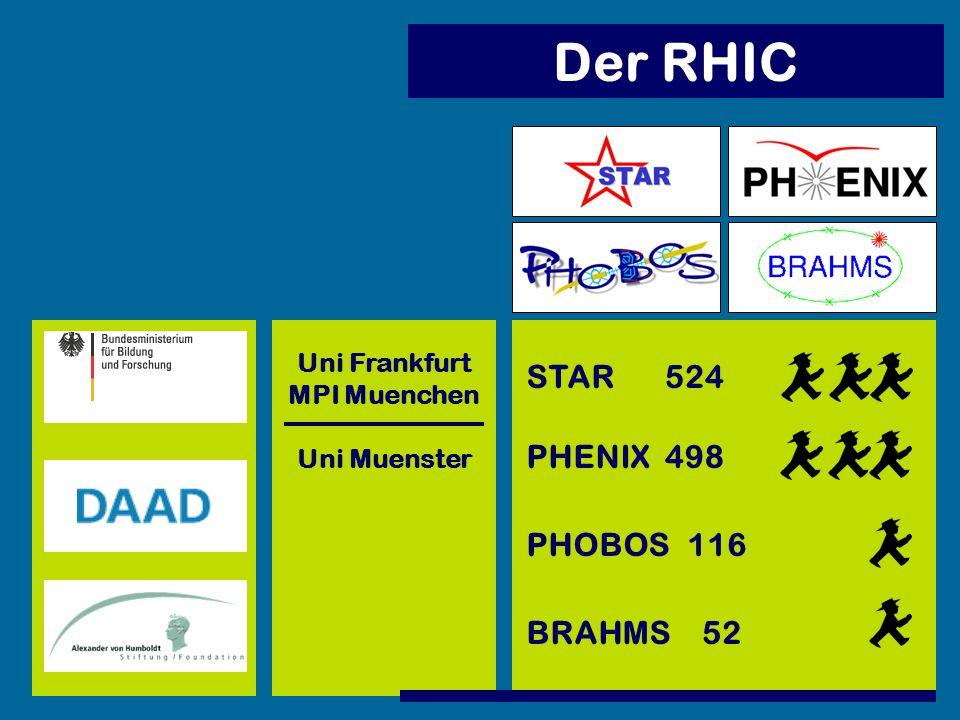 Der RHIC PHENIX PHOBOS BRAHMS STAR Uni Muenster Uni Frankfurt MPI Muenchen 498 52 116 524