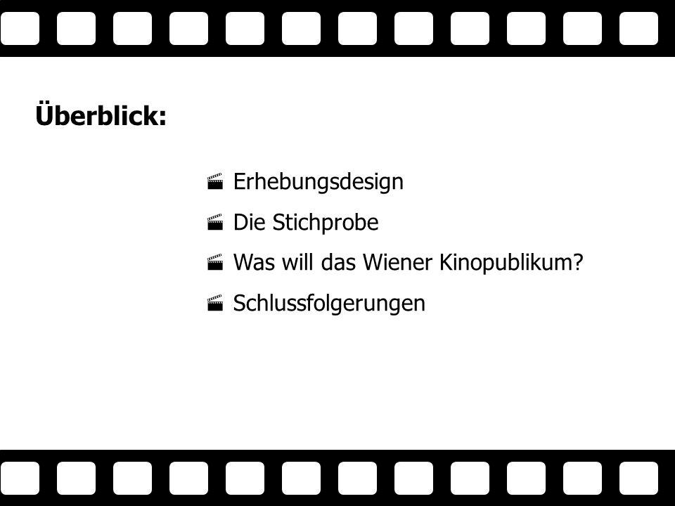 Überblick: Erhebungsdesign Die Stichprobe Was will das Wiener Kinopublikum.